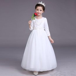 Wholesale Chart Yellow Clothes - Children Wedding Dress Long Sleeve Girls Flower Dresses Baby Clothes Spring And Autumn Winter Costumes White Bitter Fleabane 2016 Hot