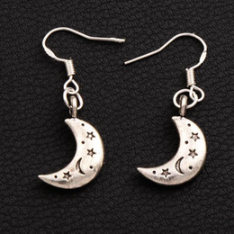 Pendiente de luna online-Star Moon Earrings 925 Silver Fish Ear Hook 50pairs / lote Antique Silver Chandelier E149 35.5x11mm