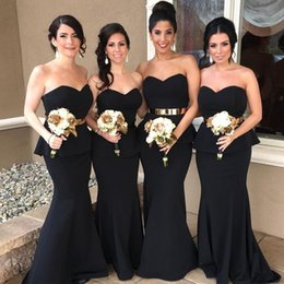 Wholesale Satin Peplum Wedding Dress - 2017 Elegant African Black Mermaid Bridesmaid Dresses Sexy Sweetheart Peplum Long Train Prom Evening Gowns Custom Made Wedding Guest Dress