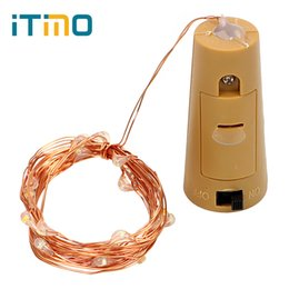 Wholesale Wire Garland Decorations - Wholesale- ITimo LED String Lamps Wine Bottle Stopper Light Cork Shaped For Bar Xmas Party Wedding Decoration Copper Wire Garland
