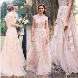 Wholesale Wedding Dress Layered Tulle - Vintage 2016 Cheap Lace Wedding Dresses Champagne Sweetheart Ruffles Bridal Gown Cap Sleeve Deep V neck Layered Reem Acra Lace Bridal Gowns