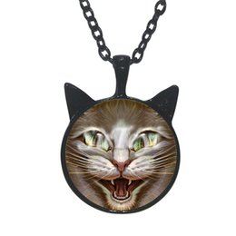 Wholesale Cheshire Cat Necklaces - 2016 New Cheshire Cat Necklace Cheshire Cat Cat Ear Jewelry Glass Pendant Photo Cabochon Declaration Necklace wholesale