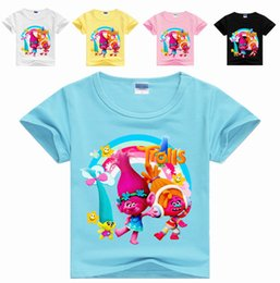 Wholesale Good Kids Clothing - Kids Summer T-shirt The Good Luck Trolls Shirt New Movie T-shirts for Girls Cotton Tees Clothes Casual Tops Trolls
