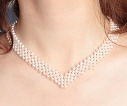 Wholesale Multi Row Necklaces - 5-row Multi-strand Pearl Necklace Wedding Bridal Fine Pearl Jewelry 925ss Clasp, V shape