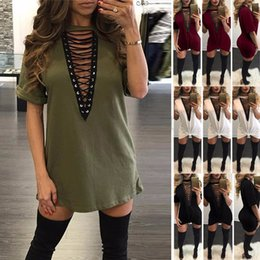 Wholesale Hot Selling Summer Fashion - New Hot Selling Dresses for Women Clothes Fashion 2017 Short Sleeve Sexy Criss Cross Neck Casual Loose T-Shirt Plus Size Dress S-3XL CK1099