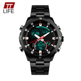 Wholesale Watch Double Time - Wholesale- TTLIFE Noctilucent LED Dual Display Business Watch Men Outdoors Sport Digital Stainless Steel Band Double Time Wrist Watch 1146