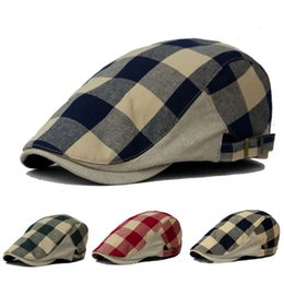 Wholesale Chapeu Feminino Caps - Wholesale-2016 Fashion Caps Men for Hunting Summer Visors Sun Hats Men and Women Beret Boina Cap Plaid Chapeu Feminino 6 Color HT51083+40