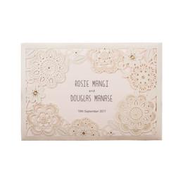 Wholesale Invitations Cards Rsvp - Wholesale- 12pcs lot 2016 Shiny White Laser Cut Lace Flowers Wedding Invitations Elegant with RSVP Birthday Party Decoration Cards JJ807