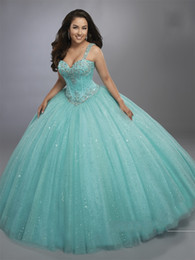 Wholesale Lilac Aqua Dresses - Beautiful Aqua Quinceanera Dresses 2017 Mary's with Sheer Bolero and Basque Waistline Bling Bling Sweet 16 Dress Exposed Boning Sparkling