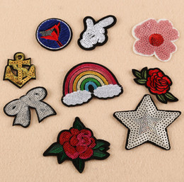 Wholesale Embroidered Anchor Patch - 9pcs set New rainbow anchor rose bow Iron On Patches Embroidered Stickers Applique Badge Hat Bag Clothing shoes Fabric Sewing DIY