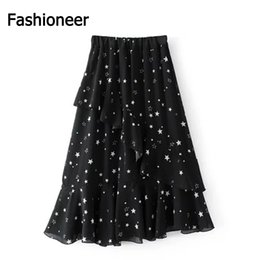 Wholesale Maxi Skirt Dotted - Fashioneer Summer elegant 2017 irregular hem flounce skirt knee black stars Chiffon Maxi female S M L