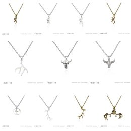 Wholesale Wholesale Antler Necklace - Antique Silver Plated Deers Heads Silhouette Antlers pendants Chain Necklaces Birthday Gifts For Women Platinum Metal Necklaces