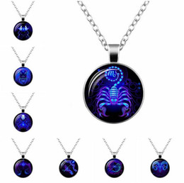 Wholesale Mixed Gems - Good A++ Explosive new twelve zodiac time gem glass pendant necklace WFN359 (with chain) mix order 20 pieces a lot