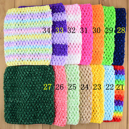 Wholesale tube tutu top - 15cm X 15cm Baby Girl's 6inch Crochet Tutu Tube Tops Chest Wrap Strapless Wide Crochet headbands 35 Color