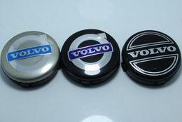 Wholesale Volvo Cap - 3colors 20pcs 64mm for volvo wheel center caps hub cover car emblem badge black gray BLUE C30 C70 S40 V50 S60 V60 V70 S80 XC90