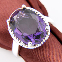 Wholesale Silver Gemstone Jewelry Settings Wholesale - Free And Fast Shipping 2017 Direct Selling 4pcs Artistic Purple Crystal Gemstone 925 Silver Jewelry Rings #7 #8 #9 R0049