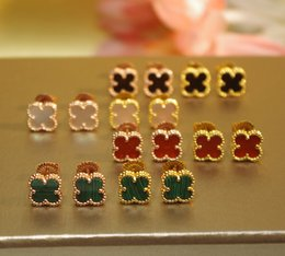 Wholesale Clover Earrings Black - Mini size 925 sterling silver white red black natural stone clover earrings accesories 18K yellow rose gold plated party jewelry for women