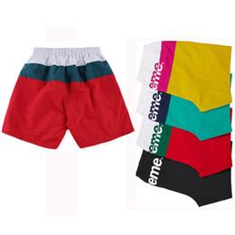 Wholesale Pleated Shorts Men - fashion Box Logo Split Logo CONTRAST Waterproof Beach Short stretch Polyester Shorts casual beach pants
