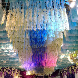 Wholesale Fabric Wall Lights - Artificial Garland Wedding Backdrop Silk Fabric Flowers High Density Flower Petal String Wedding Decorations Party Supplies Mixed Color