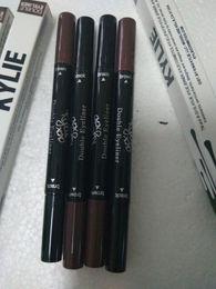 Wholesale Black Brown Ended - Kylie Double-end Waterproof Double Sided Liquid Eyebrow Pen Eyeliner Eye Liner Pencil Makeup Cosmetic Tools Black Brown