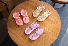 Wholesale Summer Leather Sandals For Girls - Girl Sandals Girls Pearl Sandals Kids Shoes Summer Fashion Princess Sandals Children Rome Shoes for 3~16 Y