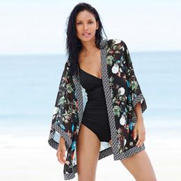 Wholesale Beach Sarong Black - 2016 Summer Beach Dress Cover ups Pareos Chiffon Cardigan printing Wrap Shawl Sarongs Bikini Women Scarf Sunscreen Clothing 8008
