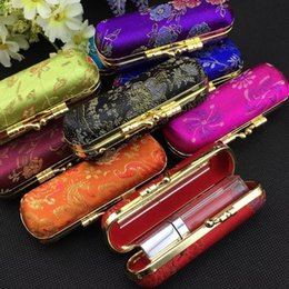 Wholesale Lipstick Cases Mirror Wholesale - Floral Small Cosmetic Empty Lipstick Display Case Mirror Silk Brocade Lip Balm Tubes Containers Lip Gloss Storage Box Packaging