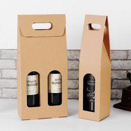champagnerhalter Rabatt Kraftpapier Wein Taschen Heißprägung logo Paket Oliver Öl Champagner Flasche Träger Geschenk Halter Freies Verschiffen ZA5004