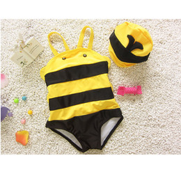 Wholesale Baby Cap For Bathing - Cute Baby bee Striped swimwear 2pc set swimming cap+one-pice swimwear infants boys girls hot spring bathing suit 3sizes for 1-6T