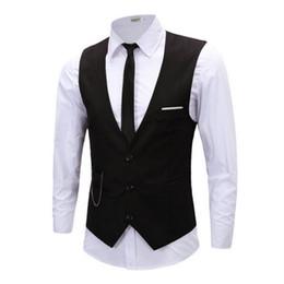 Wholesale Tuxedo Vest Wholesaler - Wholesale- Men's Business Formal Vest Suit Slim Tuxedo Waistcoat Blazer Vests Coat Tops 4 Colors Plus Size 5XL