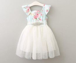 Wholesale Holiday Princess Dresses - Girls Floral Print Tutu Dress Children Diamond Tulle Summer Party Dress Princess Fly Sleeve with Crystal Neckline Ruffles Holiday Dresses