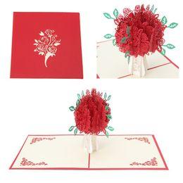3D Rose Greeting Card Pop-Up Paper Cut Postcard Compleanno San Valentino Regalo CYT da farfalle di inviti fornitori