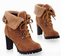 Wholesale Ladies Korean Boots Heels - Korean Winter High Heel Cashmere Students Plus Size Waterproof Short Boots Shoes Ladies Women Lace-up Warmly Snow Ankle Boots 34-43