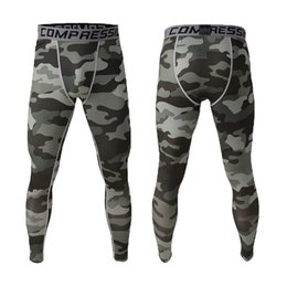 Wholesale Blue Compression - Wholesale- Sports running pants men jogging Camo Graffiti Compression men tights training pantalon broekpak mallas hombre Gym man leggings
