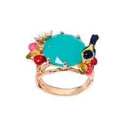 Wholesale United Stereo - Europe and the United States new enamel glaze stereo Oriole bird fresh flowers cherry blue diamond gold ring ring factory price