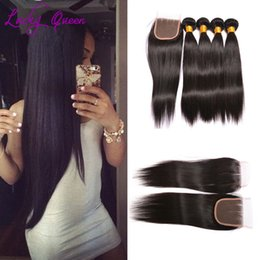 Wholesale Mix Deals - Lucky Queen Grade 8A Peruvian Body Wave Straight Hair With Closure Virgin Hair Deals Straight Bundles With Closure 3 Bundles With Closure