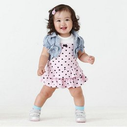 Wholesale Girls Denim Dress Coat - Wholesale- Baby Kids Girls Hearts Set Dress+Bow Denim Jean Coat Outfits Costume 2 pieces Set roupas infantis menina