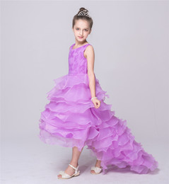 Wholesale Chinese Clothing For Children - Kids Girls Wedding Dresses 2017 Summer Baby Girl Bridesmaid Long Tail Dress Infant Princess Tulle Dress for Party Children Clothing S832