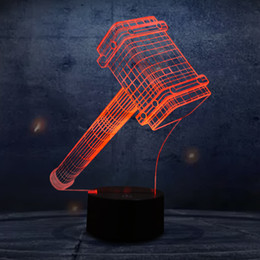 Wholesale Hammer Lamp - Wholesale- 3D LED Illusion Lamp with The Thor Hammer Shape LED 7 Colors Night Lights as Home Decorations Lights