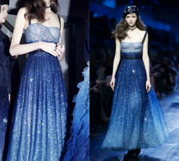 Wholesale Baby Pink Sequin Prom Dresses - Newest Blue Formal Dresses Evening Spaghetti Full Sequins Dress Evening Wear Vestidos Festa Runway Fashion Angela Baby The Smurfs Prom Gowns