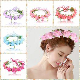 Wholesale Flower Wrist Bands - Flower Headbands Girls Floral Hair Band Hair Accessories Flower Garland Headband Bohemia beach Head wrap Hair Wrist Flower Accessories