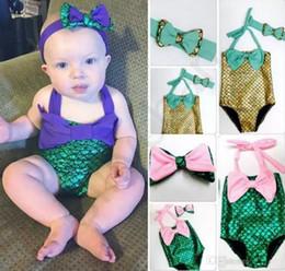 Wholesale Toddler Mermaid - PrettyBaby bowtie Fashion Princess Girls Mermaid Swimsuit one piece Kids Toddler Bikini 2 Pcs Suit Child Swimwear Children Bathing