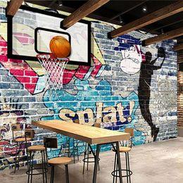 Wholesale Paintings Basketball - Wholesale- Custom Mural Wallpaper Modern Art Abstract Painting Graffiti Brick Wall Basketball Living Room TV Backdrop Decorative Pictures