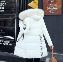 Wholesale Medium Down Jackets - fashion 2017 winter Jacket women cotton-padded medium-long slim women's outerwear thickening large fur collar thicken Down&Parkas Coats