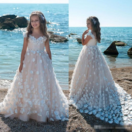 Wholesale hottest first communion dresses - Hot Sale 2018 Flower Girls Dresses For Weddings 3D Floral Applique Blush Pink Ball Gown Kids First Communion Dress Cheap Pageant Gowns