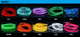 Wholesale Neon Rope Lighting 12v Led - EL wire Neon Light LED strips tape Dance 6mm Sewing Edge Party Car Decor Light Neon Flexible EL Wire Rope Tube LED Strip With 3V 5V 12V Plug