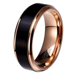 Wholesale Russian Wedding Bands - 8mm 6mm 4mm Black & Rose Gold Plate Tungsten Carbide Wedding Band for Boy and Girl Friendship Ring Russian Men Simple Jewelry