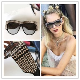 Wholesale Eye Protections - Limited Edition 0144 Sunglasses Sparkling Diamond Designer Frame Popular UV Protection Sunglasses Top Quality Fashion Summer Style For Women