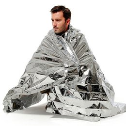 Wholesale Space Blankets Wholesale - Waterproof Emergency Survival Rescue Blanket Foil Thermal Space First Aid Sliver Rescue Curtain Outdoor Gear Multifunction Pads 10 PCS