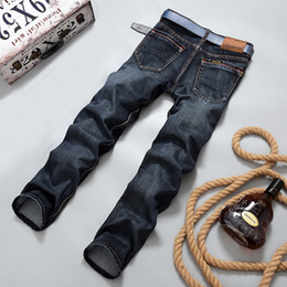 Wholesale Casual Winter Trousers Pants - Wholesale-2016 Autumn Winter More Thick and warm men jeans straight slim casual mens jeans men pants cotton men clothing trousers 2018